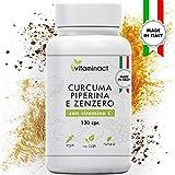 Curcuma Piperina Plus Zenzero Vitamina C-130 cpr-Altissimo Dosaggio Naturale Di Estratto Curcuma 1280,00Mg-Curcumina 200,00Mg-Piperina 10,00Mg-Massimi Benefici-Qualità Italiana-Nuova Formula