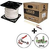 RG59 Cable 1000FT White + F/BNC/RCA Compression Tool + 50 Pcs BNC Connectors Kit