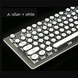 Wirkliche Mechanische Tastatur Grüne Achse 104 Schlüssel Bunte Metall Computerspiel Verdrahtete Steam Retro Runde Kappe,White
