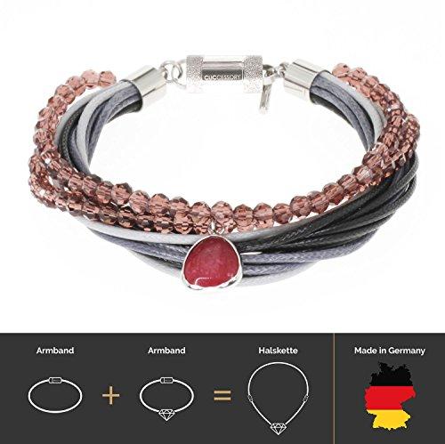 Multistring Seidensatin Kristall Damen-Armband, sicherer Magnetverschluss, kostenlose Geschenkverpackung. CLICCESSORY CORDÓN Ruby Tear 20cm. Durch das CLIC System werden die Armbänder zu Halsketten.