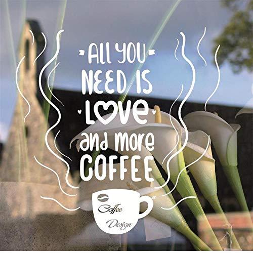BFMBCH Kaffeetasse fensterglas logo applique tee zeit shop wandaufkleber kaffeegeschäft schild fenster kunst wand küche wandaufkleber A3 57x57cm
