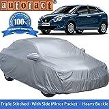 Autofact Premium Silver Matty Triple Stitched Car Body Cover with Mirror Pocket for Maruti New Baleno