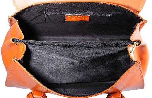 CTM Borsa da Donna a Mano Classica, 37x24x17cm, Vera pelle 100% made in Italy Cuoio