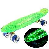 WeSkate Mini Cruiser Skateboard mit LED Deck & USB Kabel aufzuladen, 55cm Kinder Penny Style Skate boards