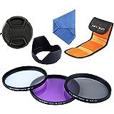 K&F Concept 49mm Filtro Kit de Accessorios de Lente UV Protector Polarizador Circular Filtro para Sony NEX5 NEX7 A3000 - Incluye Filtro Kit(UV CPL FLD) + Parasol Pétalo de Lente + Centro Pinch Tapa del objetivo + Bolsa de Filtro.