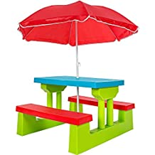 TecTake Ensemble De Jardin Pour Enfant 2 Bancs Parasol Table Dactivit