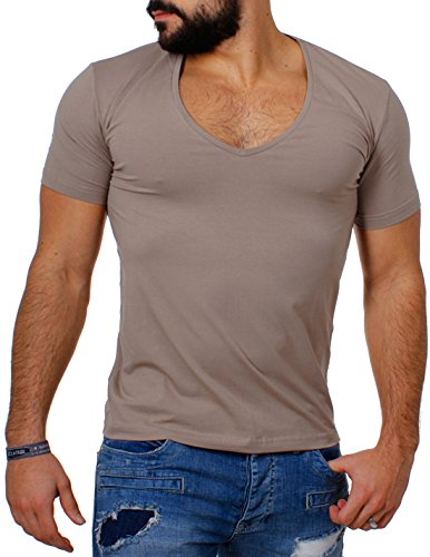 8177d9ce7612 Young   Rich   Rerock Herren Uni T-Shirt mit extra tiefem V-Ausschnitt