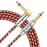 AIHIKO Câble Guitare d'instrument Jack-Jack Coudé Mono 3m 1/4' 6.35mm Mâle à Mâle Tweed rouge jaune Tressé pour Guitare Electrique Basse Clavier Electronique
