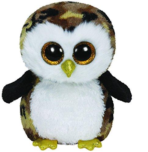 TY 36991 - Owliver Buddy - Eule gelb glitzernder Schnabel und Füße mit Glitzeraugen, Glubschi's, Beanie Boo's, Large 24 cm, schwarz/braun