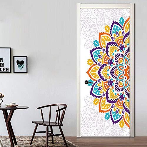 KUNHAN Wandaufkleber Wunderbare Halbe Bunte Mandala Blume Ölgemälde Wandaufkleber Tapeten Türaufkleber Dekoration