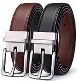 BULLIANT Uomo Cintura,Pelle Reversibile Cintura 35MM,Un cinturón invertir de dos colores,Dimensioni Regolabili