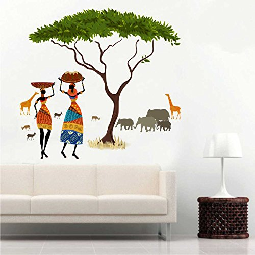 Rawpockets African Jungle Story ' (Material - Pvc Vinyl Matte Finish, Wall Coverage Area - Height 90Cm X Width 100Cm)