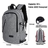 Business Laptop Rucksack Schule Backpack 15,6 Zoll Notebook Tasche Wasserdichte Anti Diebstahl Computer Rucksacke fur Herren und Damen mit USB Aufladung und Kopfhorer Port