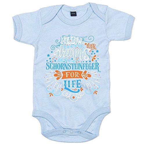 Flowerpower Schornsteinfeger #1 Babybody | Berufe | Follow Your Dreams | Traumberuf | Junge | Kurzarmbody, Farbe:Babyblau (Dusty Blue BZ10);Größe:0-3 Monate