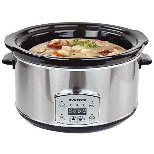 Syntrox Germany 4,5 Liter Digitaler Edelstahl Slow Cooker mit Timer und Warmhaltefunktion