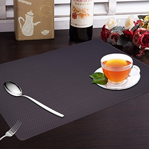 Yellow Weaves™ 6 Piece PVC Dining Table Placemats - Black