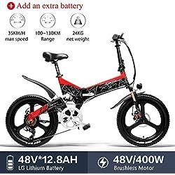 LANKELEISI G650 Bicicleta Eléctrica 20 x 2.4 Pulgada Bicicleta de Montaña Bicicleta Eléctrica Plegable Ciudad 400w 48v 12.8ah Batería de Litio LG Shimano 7 Velocidades (Rojo +1 batería Extra)
