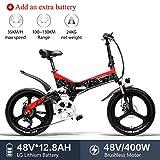 LANKELEISI G650 Bicicleta Eléctrica 20 x 2.4 Pulgada Bicicleta de Montaña Bicicleta Eléctrica Plegable Ciudad 400w 48v...