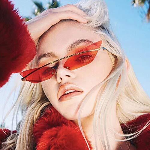 Zbertx Kleine Schmale Sonnenbrille Sugnlasses Für Frauen-Marken-Randlose Sonnenbrille Sun Glass Uv400 Red Shades,A1