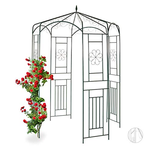 Relaxdays Rosenpavillon Metall, Rankhilfe für Kletterpflanzen, Garten, dekorativer Rankpavillon, HBT 250x160x160cm, grün, Dunkelgrün