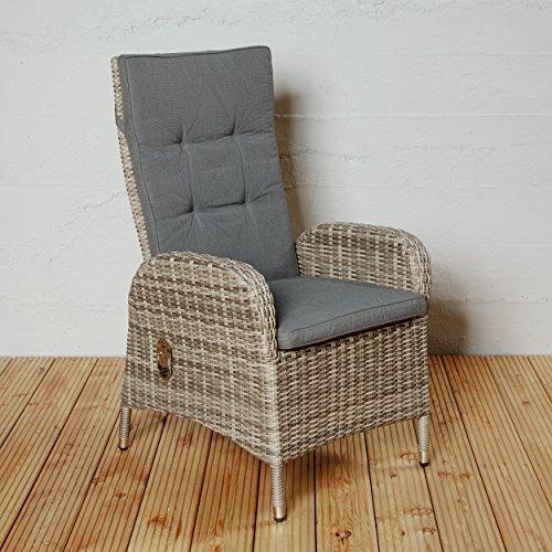 Gartenstuhl Positionsstuhl Madrid für die Terrasse oder Garten - Gartensessel Hochlehner Rocking Chair in braun mit Kissenauflagen und verstellbarer Rückenlehne