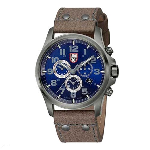 Luminox Atacama Field Chronograph Blue Dial Brown Leather Men's Watch A. 1943