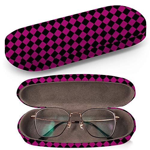 Hardcase Brillenetui Sonnenbrillenetui Brillenbox Kunststof Clamshell-Art-Brillen-Fall mit Brille-Reinigungstuch (Black Pink Diagonal Checkers Textured) Diagonale Checker
