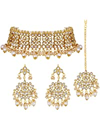 Peora Ethnic Indian Traditional Jewellery 18K Gold Plated Kundan Necklace Earring Mang Tikka Set for Women Girls