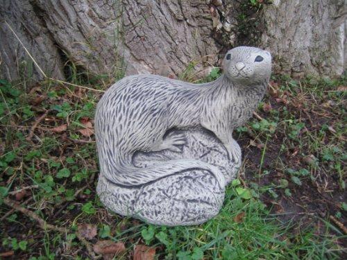 Grande arricciati Otter pietra ornamento da giardino || || see my Full Shopfront con oltre 150articoli disponibili > > Clicca il blu neilsstonecraft Link - Otter Ornamento