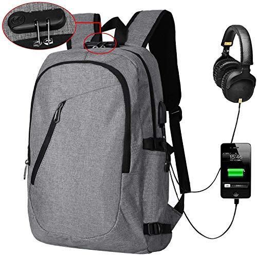 SWBE 15,6 Zoll Anti-Diebstahl-Laptop-Rucksack, Universitätsrucksack, USB-Ladeanschluss-Satchel, Wasserdichte Schultasche, Business Pack, Travel Field Pack - Grau