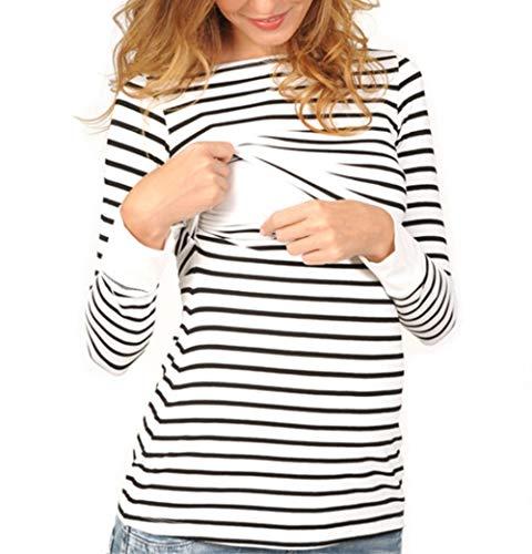 Damen Tops, Schwangere Still-Shirt Doppelschicht Streifen T-Shirt Bluse Super Gemütlich Langarmshirt Stillshirt Mutterschaft Umstandstop Oberteil (Black, S) -