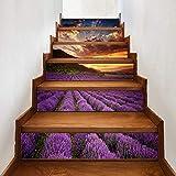 Wawer 1 Rolle / 6 PC Aufkleber DIY Schritte Aufkleber Abnehmbare selbstklebendes PVC Treppe Aufkleber Home Decor Keramikfliesen Muster (C)