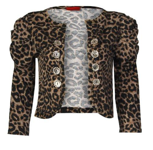 Fast Fashion Damen 3/4 Ärmeln Geraffte Leopardenmuster Geknöpft Bolero Achselzucken (EUR 40/42 - UK (12-14), Leopard Print) (Blazer Geraffte Ärmel)