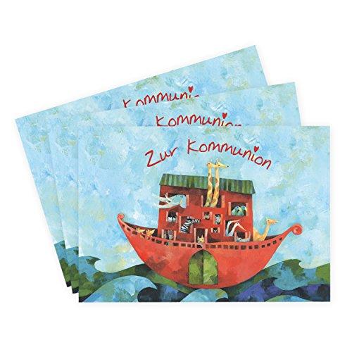 3er Set Glückwunschkarten zur Kommunion, Glückwunsch, Arche mit Tieren, grün, blau, rot I Konfirmationskarten mit Schiff, Kommunionkarten mit Boot, Einladung, Danksagung