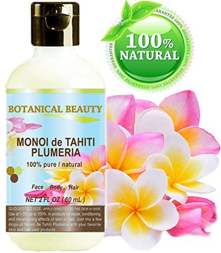 Monoi de Tahiti Huile de Frangipanier 100% naturelle / 100% pures plantes - 60 ml. Pour la peau, des cheveux et des ongles.