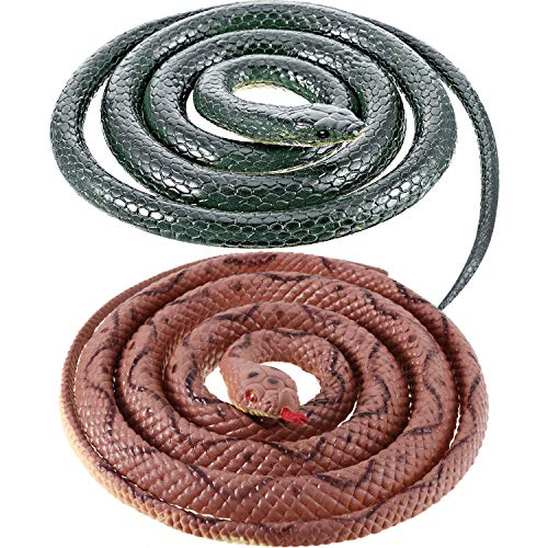 2 Pieces Rubber Snakes 27.5 Inches Realistic Fake Mamba Snake for Garden Props to Scare Birds, Pranks, Halloween Decoration (2 Pieces, 55 Inch, 54 Inch) (Prank Scare Halloween)