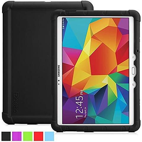 Funda Galaxy Tab S 10.5 - Poetic [Serie Turtle Skin] Funda Samsung Galaxy Tab S 10.5 (SM-T800 / SM-T805) - [Protección Esquina/Parachoques] [Amplificación de Sonido] Funda Protectora de Silicón para Samsung Galaxy Tab S 10.5 (SM-T800 / SM-T805) Negro (3 Años Garantía del Fabricante