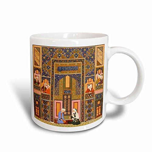 3dRose The Meeting der Theologians-Islamic Persischen art-1540-1550AD von ABD Allah musawwir-Arabian-Magic verwandelt Becher, Keramik, Schwarz/Weiß, 10,16x 7,62x 9,52cm - Persischen Becher
