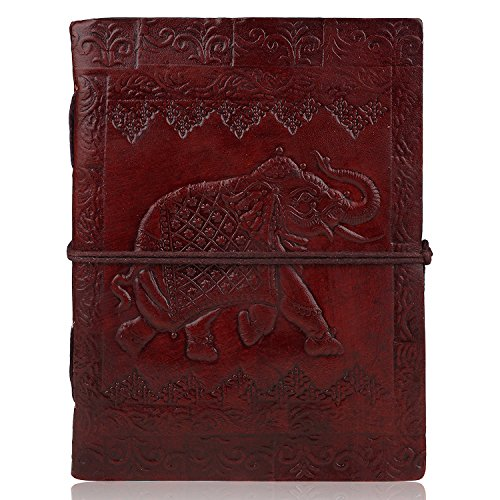 """Zap Impex ® Blank Leder Journal Tagebuch (7 x 5 \"""") Elefant Gestaltet Reisenotizbuch mit handgemachten Unlined Papier"""