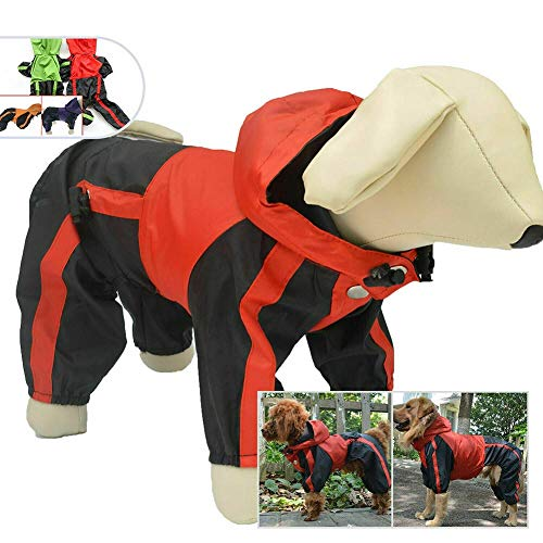 Akeny Haustier Hund Kleidung Regen Schnee Jacke Wasserfest Regenmäntel 4 Beine Regenmantel für Klein Mittel Groß Hunde - Rot, L-XS -