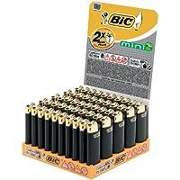 BIC J25 Lot de 50 mini briquets avec roues de friction Doré