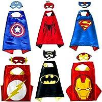 Kiddo Care 6 costumes de super-héros, masques, capes, satin (Garçons) (6 sets - Batman, superman, spiderman, ironman, capitaine America & Flash)