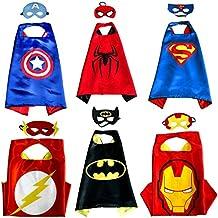 Kiddo Care 6 trajes de superhéroe, máscaras, capas, satén (Boys)