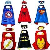 Kiddo Care 6 trajes de superhéroe, máscaras, capas, satén (Boys) (6 juegos - Batman, superman, spiderman, ironman, capitán América y Flash)