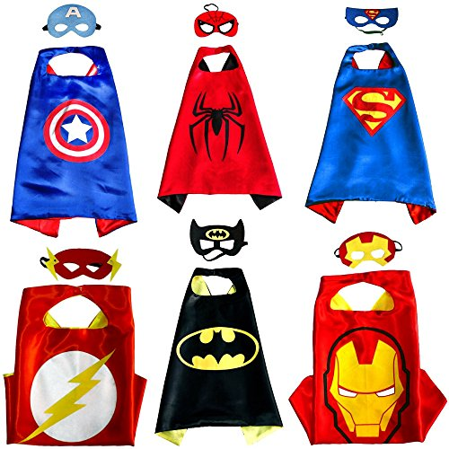 Kiddo Care 6 trajes de superhéroe, máscaras, capas, satén (Boys) (6 juegos - Batman, superman, spiderman, ironman, capitán América y Flash)