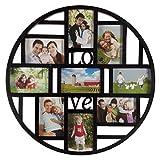 Smartfox Bilderrahmen Fotorahmen Collage für 9 Bilder im Format 10x15 cm in Schwarz, Durchmesser: 52 cm