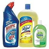 #9: Harpic Powerplus Original - 1 L with Lizol Disinfectant Floor Cleaner - 975 ml (Citrus) and Dettol Hygiene Regular - 500 ml