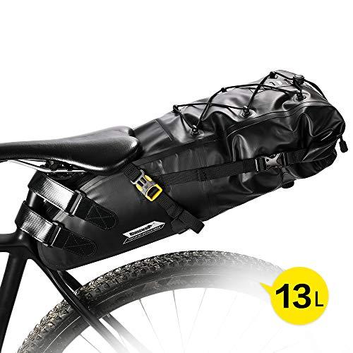 WILDKEN Borsa da Sella Bici Sacchetto della MTB BMX Bicicletta Ciclismo Sella Sacchetto Impermeabile Borse da Sella Borsa Custodia Stoccaggio Big Saddle Bag Bikepacking 13L Black