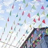 OFNMY 150pcs Bandera Banderín de Tela de 80m para Fiestas,Picnic Patio,Jardín al Aire Libre y supermecado Decoraciones,etc (18 * 25cm)