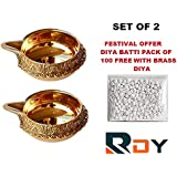 Rdy Brass Diya Set For Puja (Pack Of 2)| Brass Kuber Diya For Diwali Puja|Oil Lamp For Puja| Special Festival Offer Pack Of 100 Diya BATTI Free